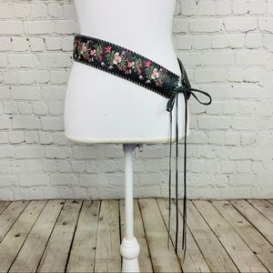Express embroidered floral tassel leather belt